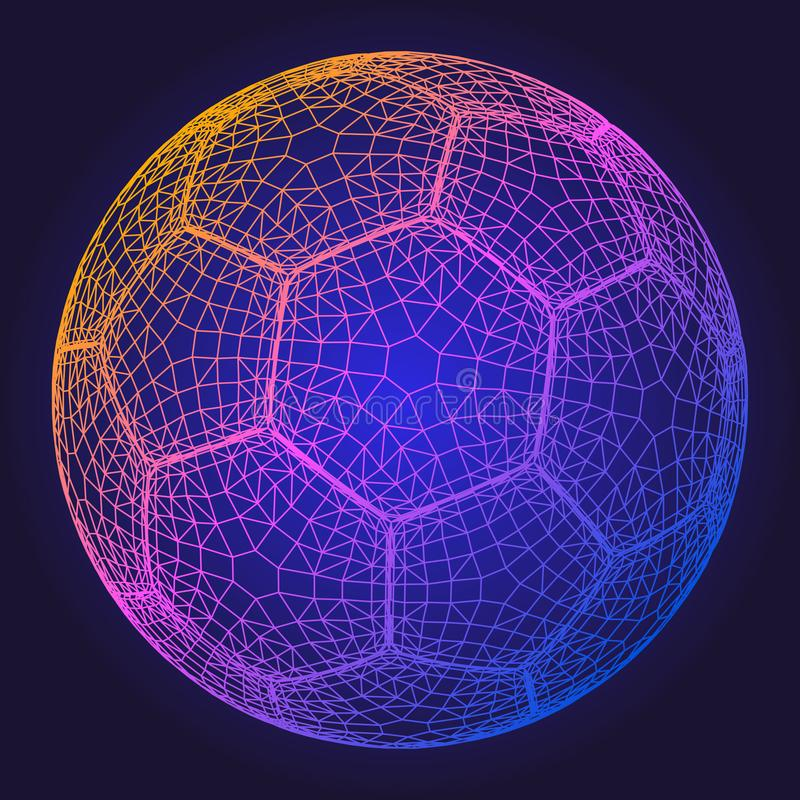 Soccer ball colorful wireframe grid vector illustration royalty free illustration