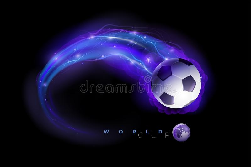 Soccer ball comets and world globes on black space background. stock illustration