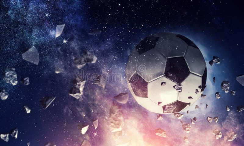 Soccer ball in cosmos royalty free illustration