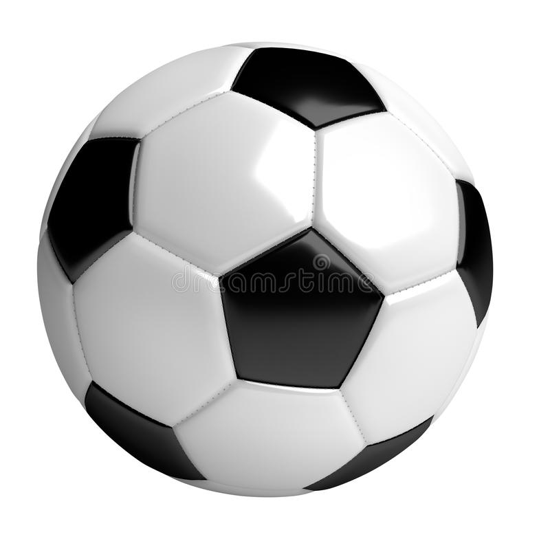 Soccer ball, 3d rendered illustration, clipping path included. Soccer ball, 3d rendered illustration, isolated on white background with clipping path included royalty free illustration