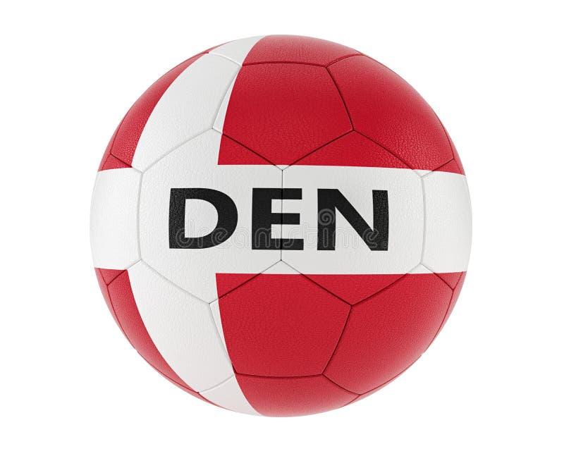 Soccer ball in denmarks national colors stock illustration