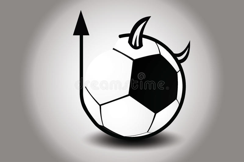 Soccer ball with devils horn and tail. Vector Illustration royalty free stock photos