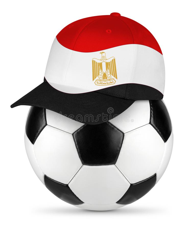 Soccer ball egypt baseball cap stock images