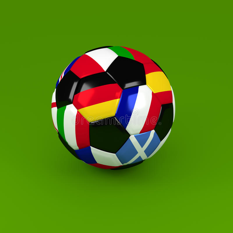 Soccer ball with European flags, 3d rendering royalty free illustration