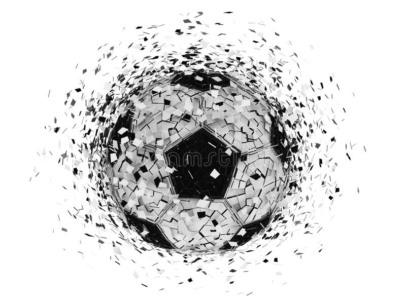 Soccer ball exploding. Over white background stock illustration