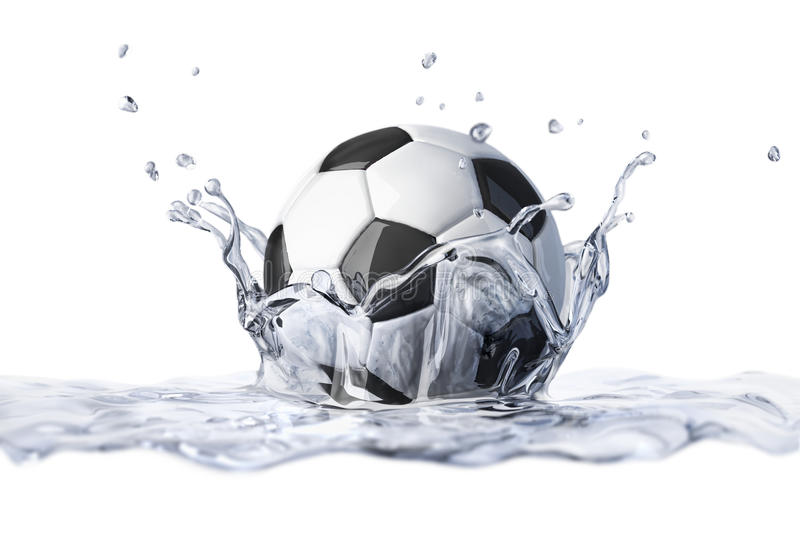 Soccer ball falling into clear water, forming a crown splash. vector illustration