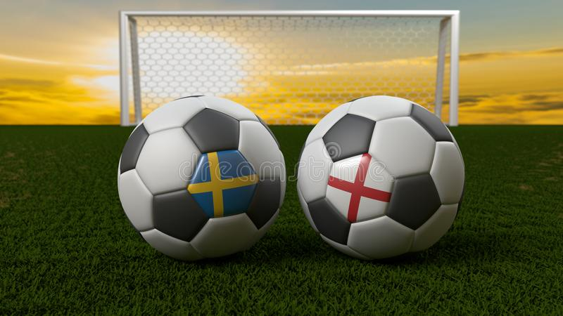 Soccer ball on the field in front of goal, Russia 2018 vector illustration