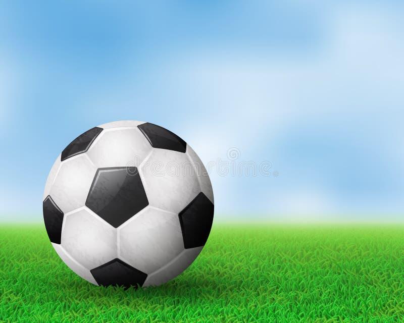 Soccer ball on field stock illustration