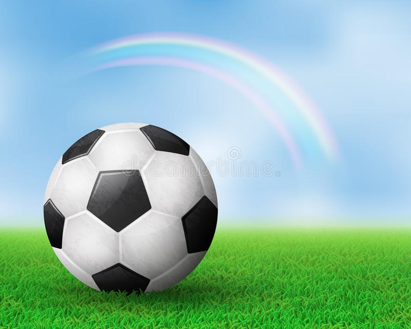 Soccer ball on field royalty free illustration