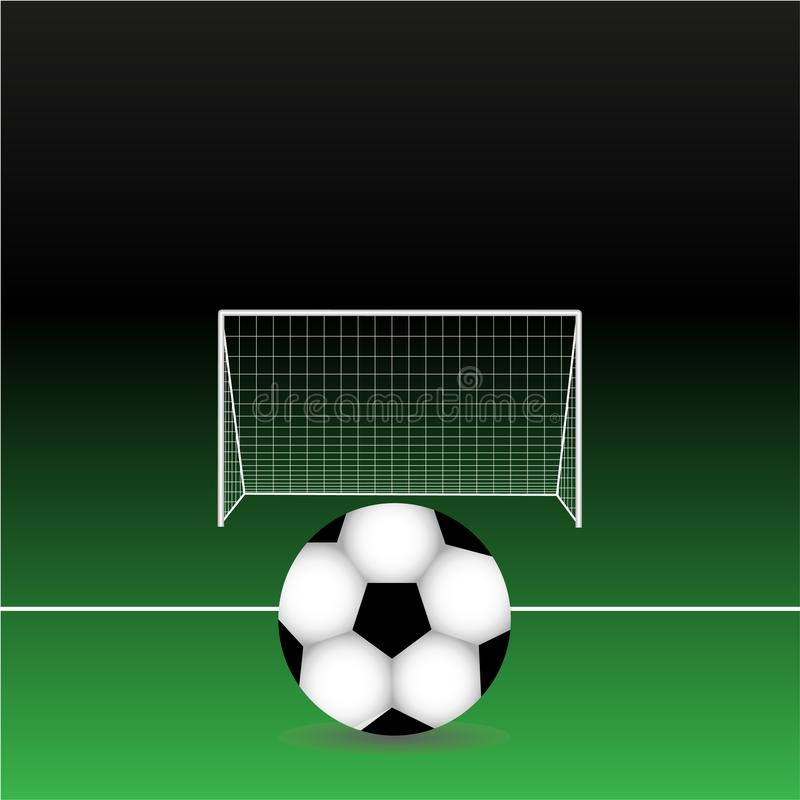 Soccer ball on field with white line and goal posts - stadium at night royalty free illustration