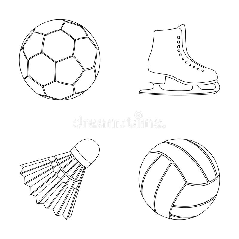 A soccer ball, figure skating skates, a shuttlecock for a badminton, a ball for volleyball. Sport set collection icons. In outline style vector symbol stock vector illustration