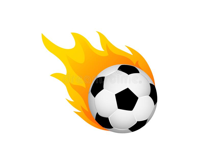 Soccer ball in fire flame. Football fireball cartoon icon. Fast ball logo in motion isolated royalty free illustration