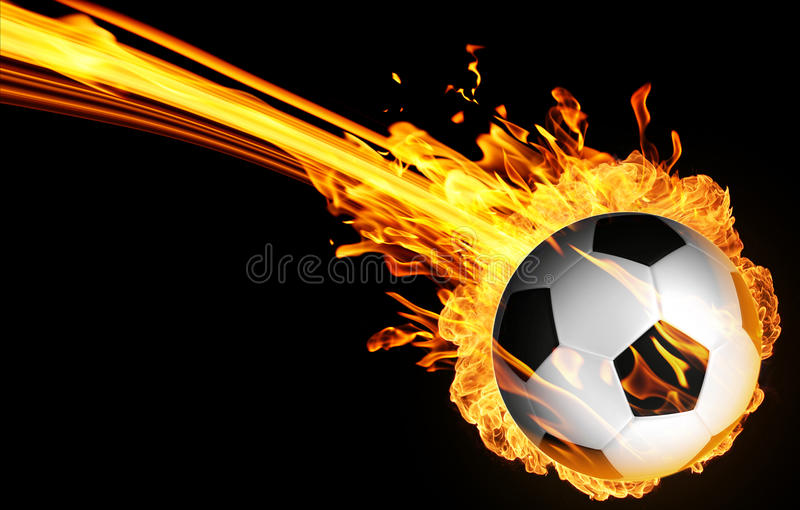 Soccer ball in fire flames stock images