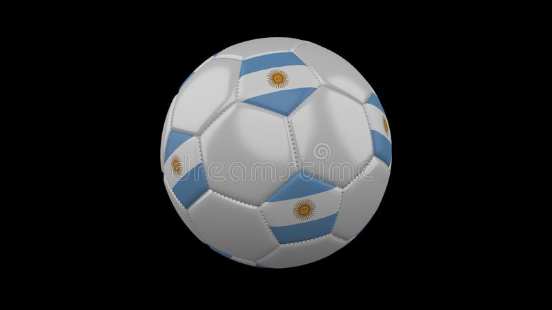 Soccer ball with flag Argentina, 3d rendering royalty free illustration