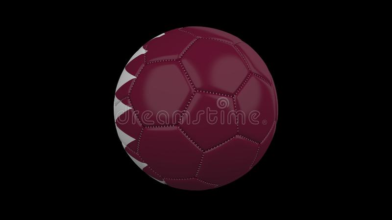 Soccer ball with flag Qatar , 3d rendering royalty free illustration