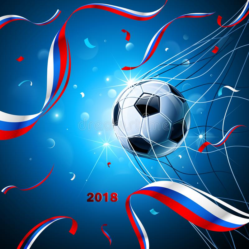 Soccer Ball with Confetti. Vector. Soccer Ball with Flag of Russia and Confetti on a Blue Background. Vector illustration vector illustration