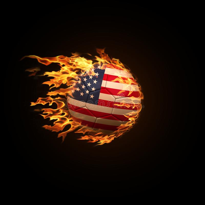 A soccer ball with the flag of USA burning with fire flies on a royalty free stock images