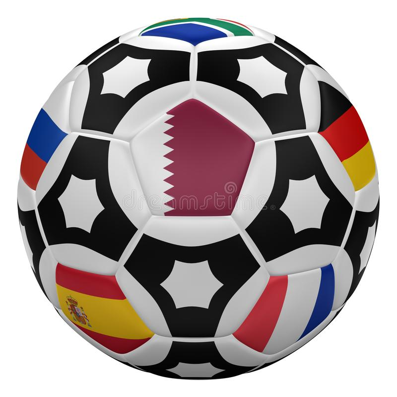 Soccer ball with flags. 3D rendering royalty free illustration