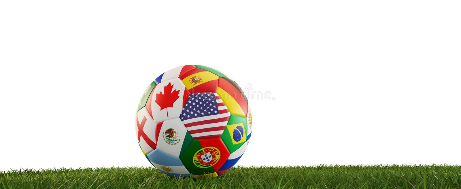 Soccer ball flags design with America and other 3d-illustration vector illustration