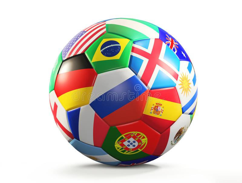 Soccer ball with flags design 3d rendering isolated stock illustration