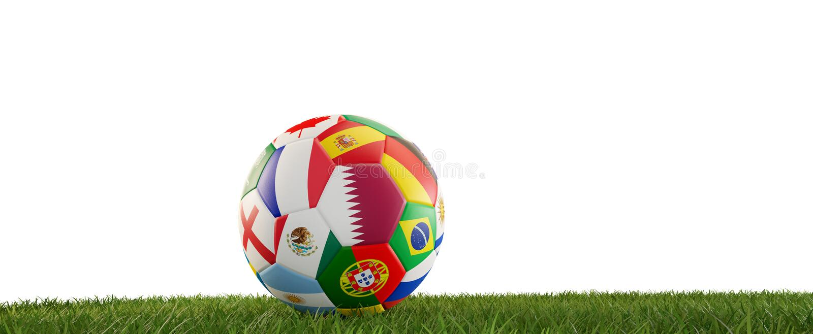 Soccer ball flags design with Qatar and other 3d-illustration royalty free illustration