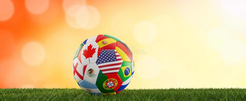 Soccer ball flags design USA Canada Mexico 3d-illustration vector illustration