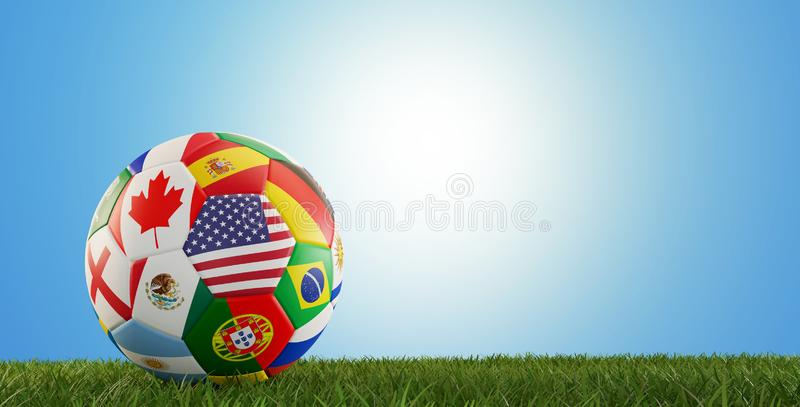 Soccer ball flags design USA Canada Mexico 3d-illustration royalty free illustration