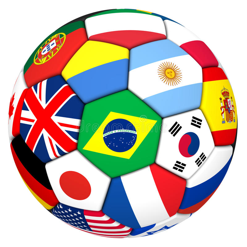 Soccer ball with flags of football powers royalty free illustration