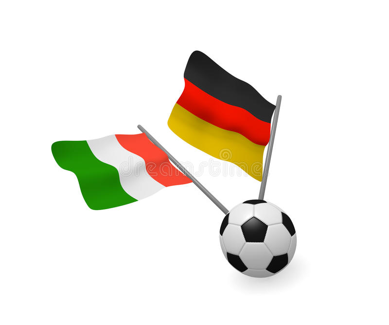 Soccer ball with the flags of Italy and Germany stock illustration