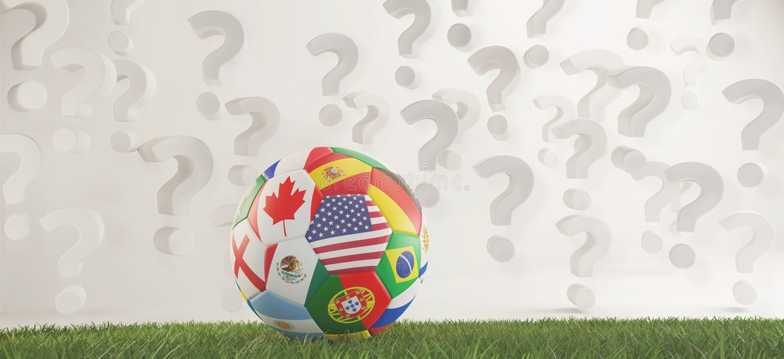 Soccer ball flags with question marks overlay 3d-illustration royalty free illustration