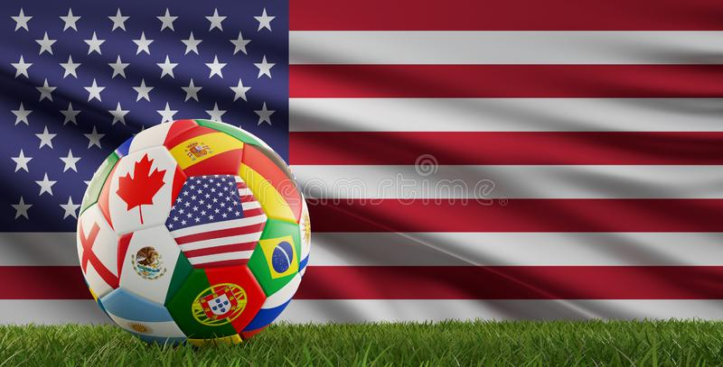 Soccer ball flags texture 3d-illustration royalty free illustration