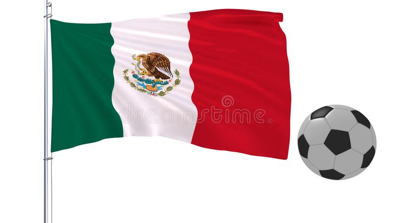 Soccer ball and the fluttering flag of Mexico on a white background, 3d rendering. royalty free stock image