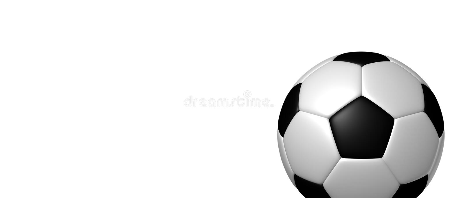 Soccer Ball, Football Banner With Free Copy Space - Black And White 3D Illustration Isolated On White Background vector illustration