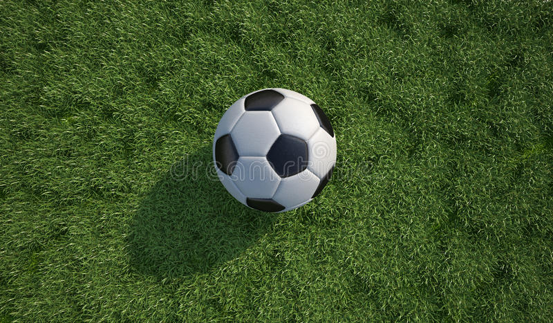 Soccer ball/football close-up on grass lawn. Top view. royalty free illustration