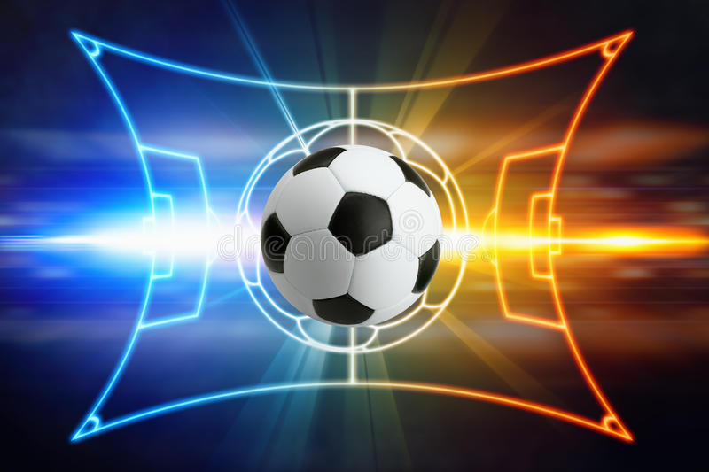 Abstract Sports Background Royalty Free Stock Image: Soccer Ball, Football Field Layout, Bright Blue And Red