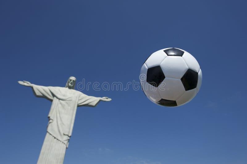 Soccer Ball Football Floats At Corcovado Rio Stock Photo