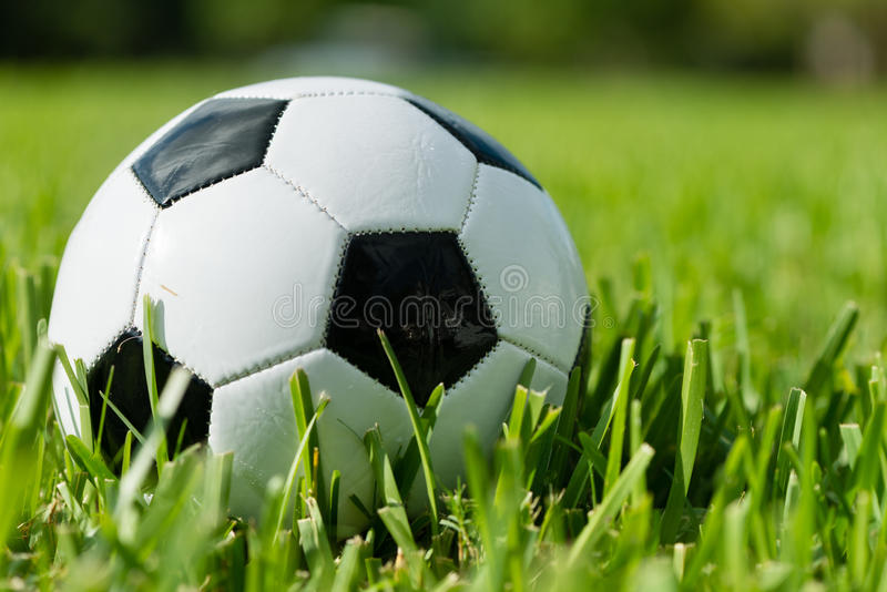 Soccer Ball Futbol on Grass stock images