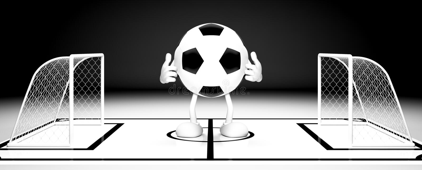Soccer ball gate. 3d illustration vector illustration