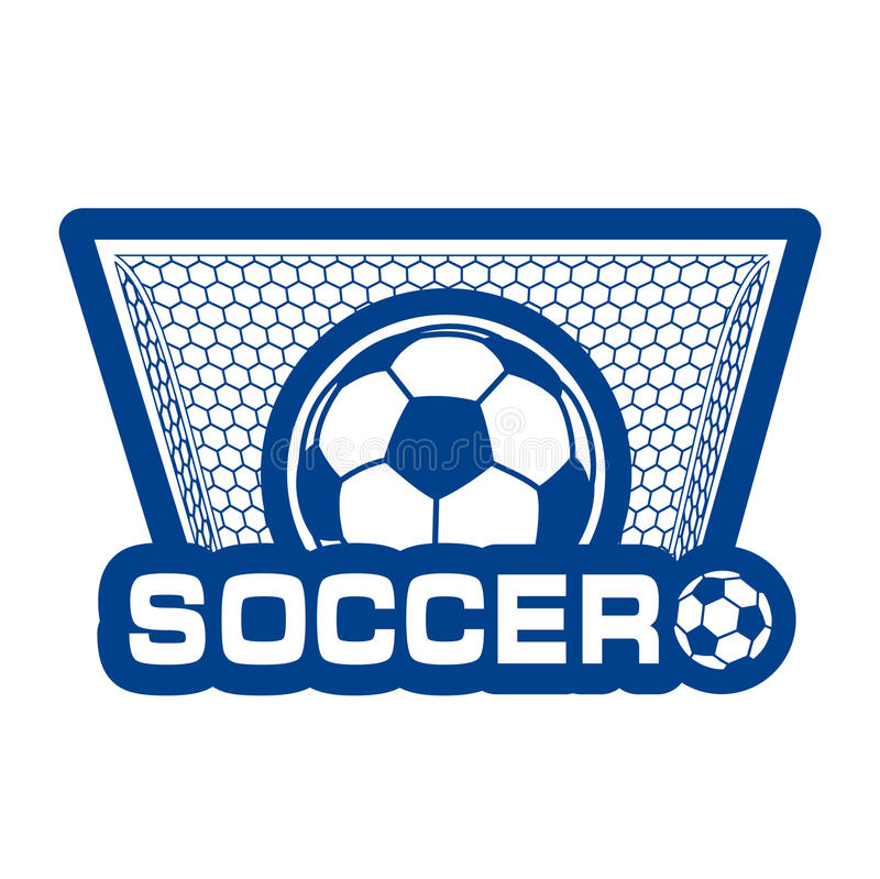 Soccer ball in gate a label. On the image is presented soccer ball in gate a label vector illustration