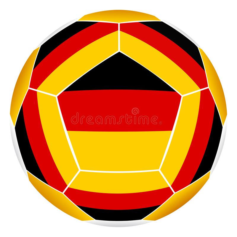 Soccer ball with German flag. Isolated on white background royalty free illustration