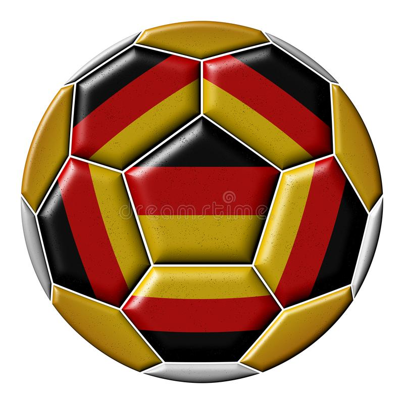 Soccer ball with German flag. Isolated on white background stock illustration