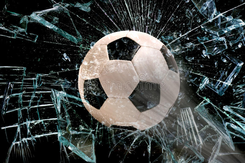 Download Soccer ball through glass. stock photo. Image of hole - 48481370