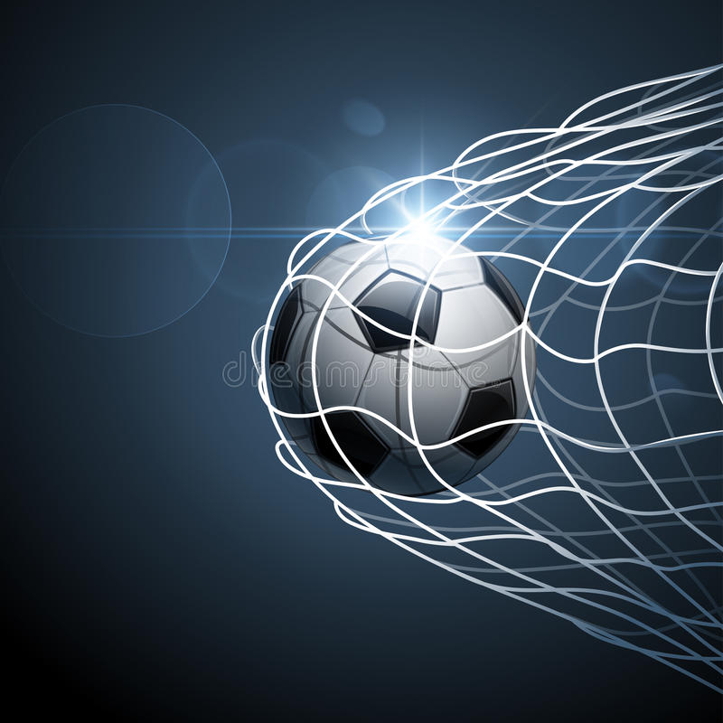 Soccer ball in goal. With bright effect. Vector illustration stock illustration
