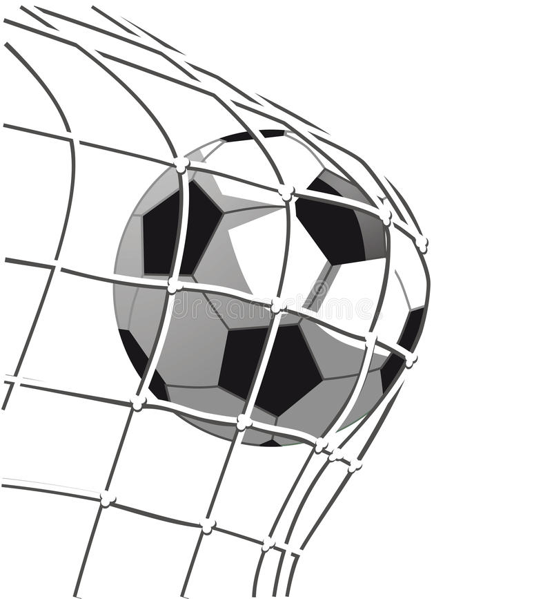 Soccer ball goal. Illustration of soccer ball hitting the net in a goal vector illustration