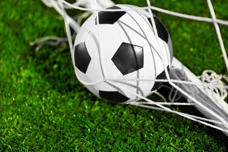 Soccer Ball And Goal Net Stock Image