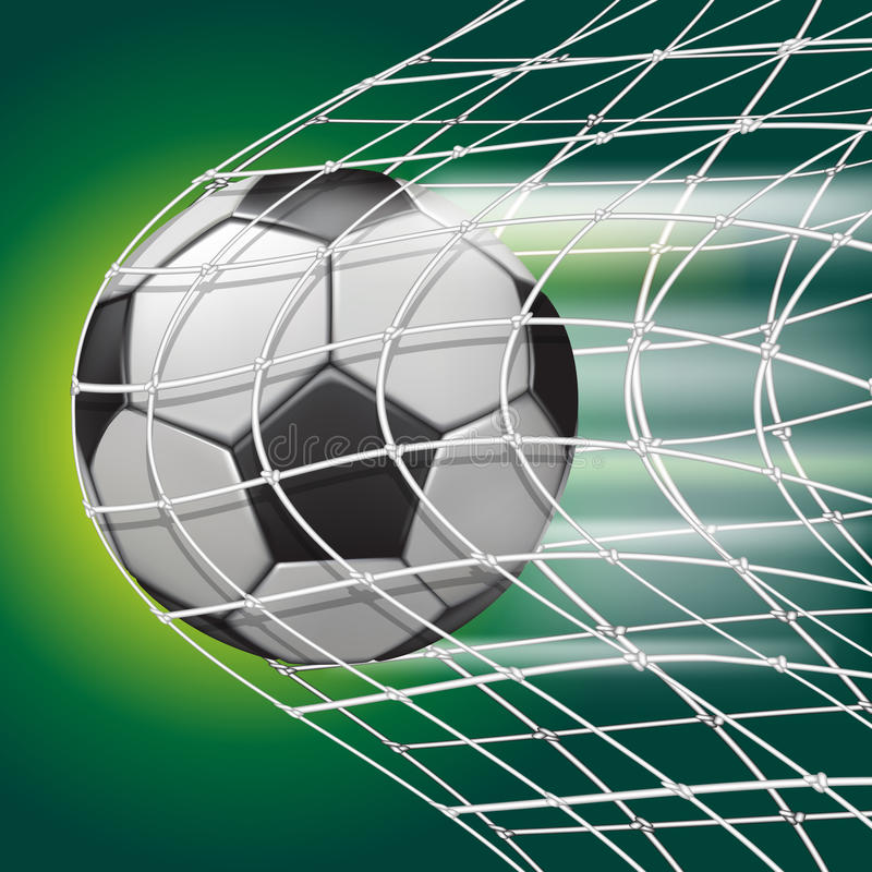 Soccer ball in goal net royalty free illustration