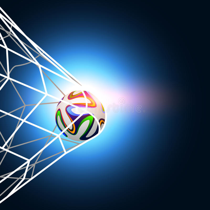 Soccer Ball In The Goal Net Editorial Photography
