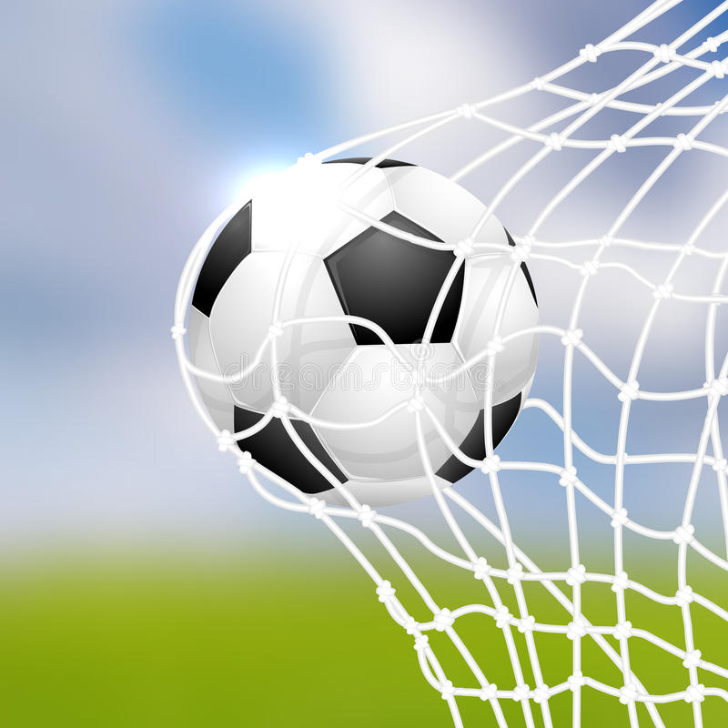 Soccer ball in goal. Vector illustration royalty free illustration