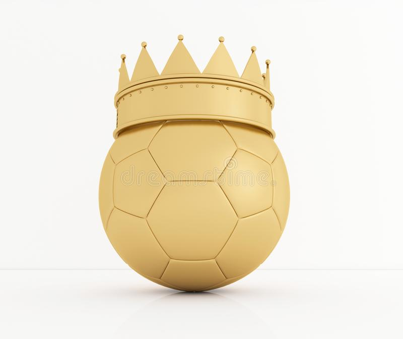 Soccer ball with golden royal crown is a symbol of competition and winner`s trophy on white. 3D rendering. stock illustration