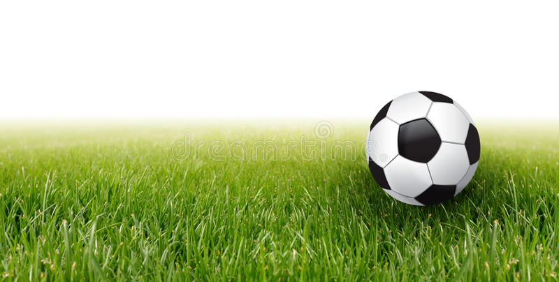 Soccer ball and grass royalty free stock image